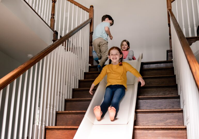 The Stairslide Provides An Innovative and Accessible Way To Turn Your Stairs Into A Slide For Your Kids